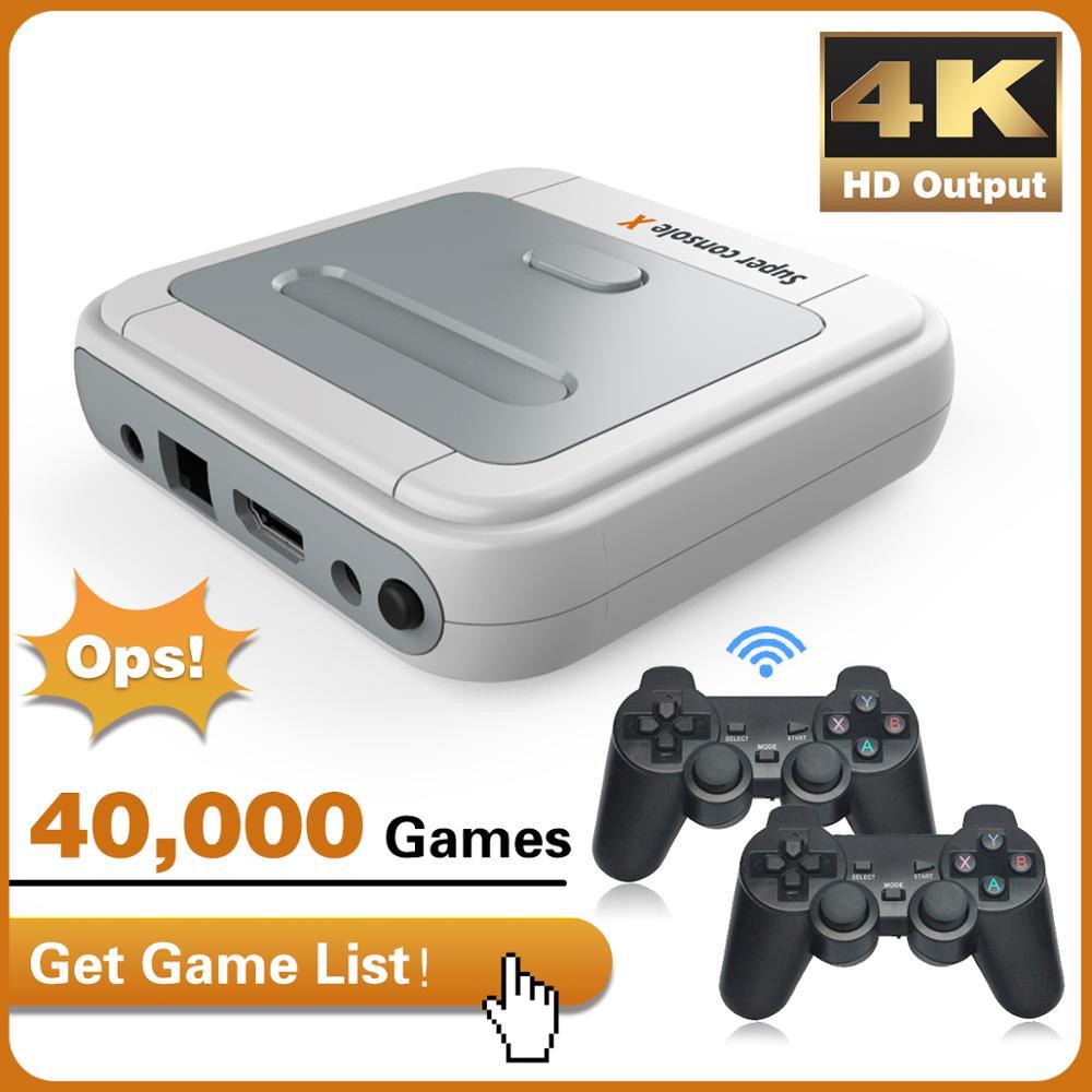 Console de jogos de vídeo arcada crianças retro game emulator console pré-instalar 40000 jogos hd 4k saída hdmi 128g mini console portátil