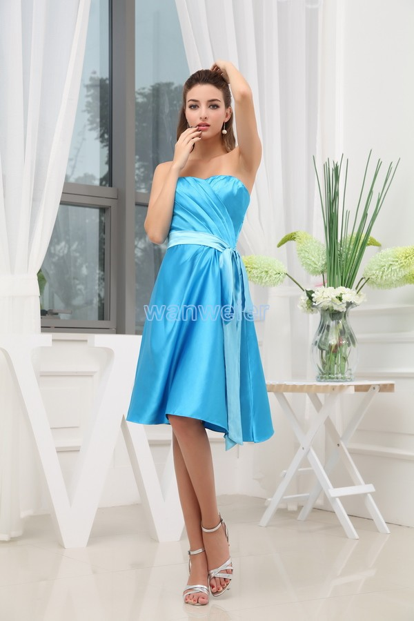 Free Shipping New Fashion 2016 Sashes Vestidos Formale Brides Maid Dress Custom Low Profile Short Blue Lovely Bridesmaid Dresses