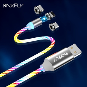 RAXFLY-Cable magnético Micro USB tipo C para iluminación de iPhone, Cable de carga magnético luminoso de 1m