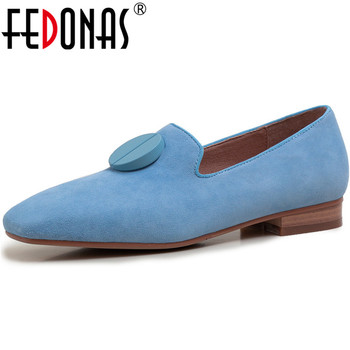 FEDONAS 2020 Summer Autumn Square Heels Pumps Genuine Leather Concise Women Shoes Button Prom Basic Loafers Newest Shoes Woman