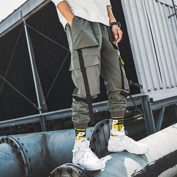 Ribbons Streetwear Joggers Men Casual Slim Mens Joggers Pants Multi-pockets Ankle-length Harem Trousers Men