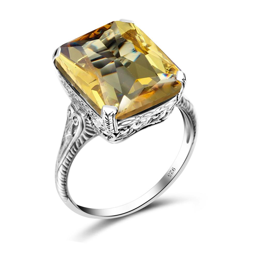 Szjinao Real 925 Sterling Silver Citrine Ring Square Gemstone Fine Jewelry Engrave Handmade Bohemia Silver Rings For Women Best