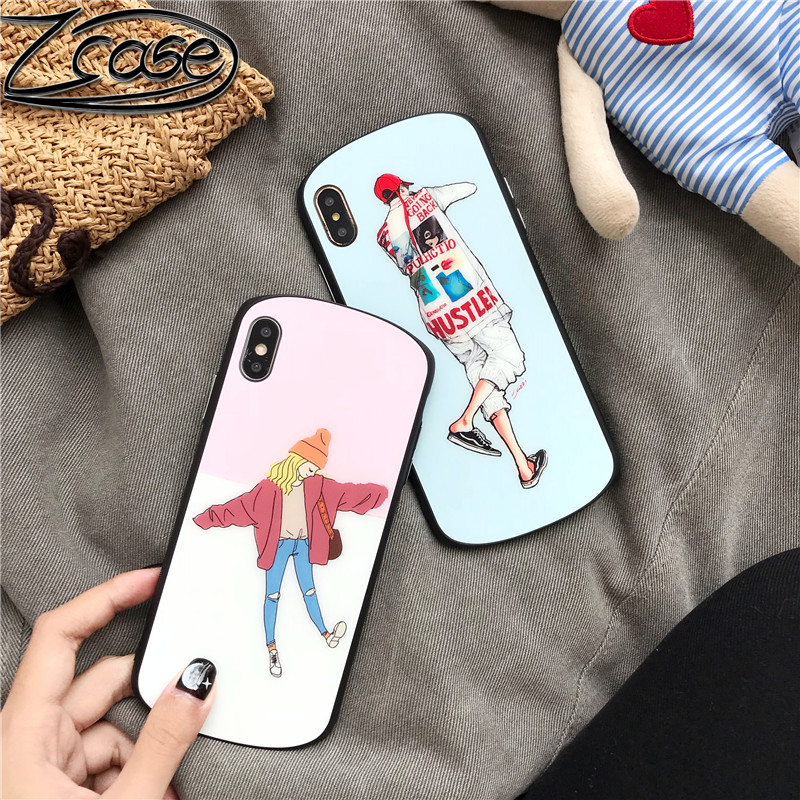Europe and America Japanese Korean Arc Toughened Glass Phone Case For iPhone XS MAX XR X 7 8 6s 6Plus Cartoon Boy Girl Cover