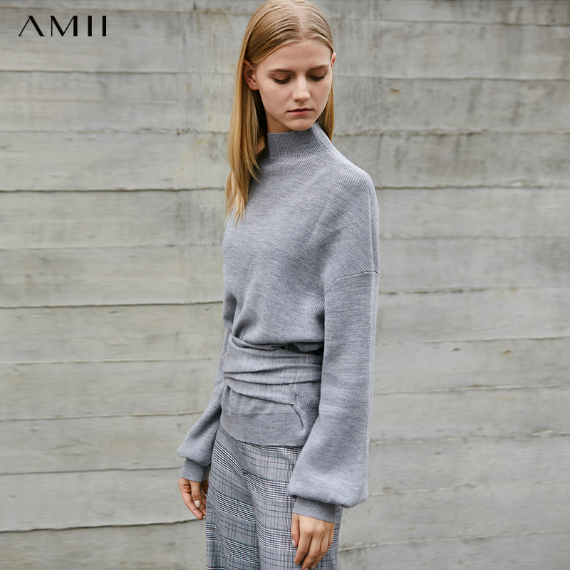 Amii Minimalist Wool Sweater Winter Women Solid Loose Ribbon Female Pullover Tops 11747235