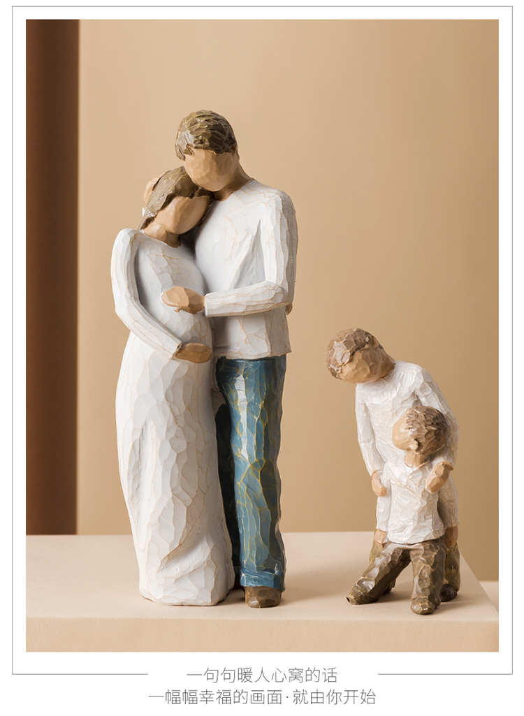 Nordic style resin figure decoration home decoration accessories Family parent-child grandparents Couple Bedroom wedding gift