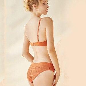 Image 3 - CINOON New Push Up Bra Set Deep V Brassiere Lace Underwear Panties Thin breathable bra set Jacquard Sexy Underwear Free Shipping