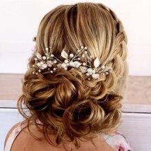 1pc nupcial hairpins casamento pérola flor de cristal da dama de honra pinos de cabelo metal presente feminino menina cabeleireiro acessórios de cabelo
