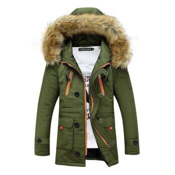 2019 New Winter Men's Coat Cotton Warm Thick Zipper Large Fur Collar Hooded Javket Couple Youth Jacket Coat фото