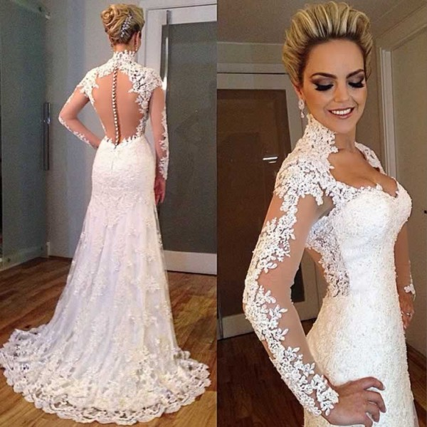 Vestido De Noiva 2018 Sexy Long Sleeve See Through Lace Appliqued Sheath Bridal Gown Abendkleider Mother Of The Bride Dresses