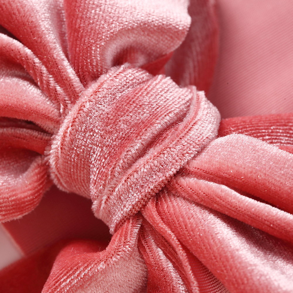 1PCS Velvet Nylon Headbands Big Bow knot Solid Wide Headbands Turban Kids Girls Hair Accessories Stretch Head Wrap in Hair Accessories from Mother Kids