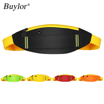 Buylor Running Waist Pack Sports Belt Bag Women Reflective Fanny Pack Fashion Bum Bag Earphone Hip Belt Pocket Cycling Jogging