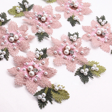 3Pcs Pink Flowers Pearl Clothes Embroidered Sew on Patches for Clothing DIY Stripes Motif Appliques parches 3pcs pink flowers pearl clothes embroidered sew on patches for clothing diy stripes motif appliques parches