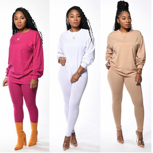 Autumn Winter Solid Tracksuit Women Activewear Sporty Long Sleeve T Shirts Top + Pencil Pants Slim Two Piece Set Outfits