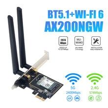 3000mbps wifi 6 adaptador de rede sem fio intel ax200 pcie banda dupla 2.4g/5ghz 802. 11ax/ac bluetooth 5.1 para o desktop do computador windows10