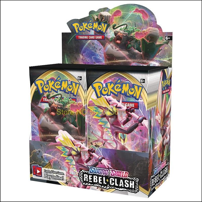 324 pièces cartes Pokemon TCG: épée & bouclier rebelle choc Booster boîte à collectionner jeu de cartes à collectionner 2020 plus récent enfants jouets