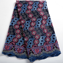 African Lace Fabric Latest  Dubai Holes Cotton Swiss Voile Lace France For Weddin Nigerian Cotton Lace Fabrics With Stone 2381A