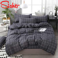 Sisher Modern Duvet Cover Set Plaid Lattice Bedding Sets Polyester Quilt Covers Single Double Queen King Bed Sheet Bedclothes