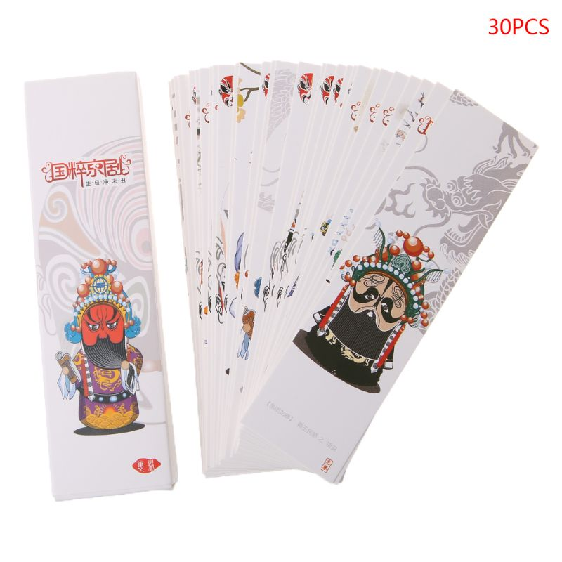 30pcs Chinese Style Paper Bookmarks Chinese Quintessence Painting Cards Retro Beautiful Boxed Bookmark Commemorative Gifts