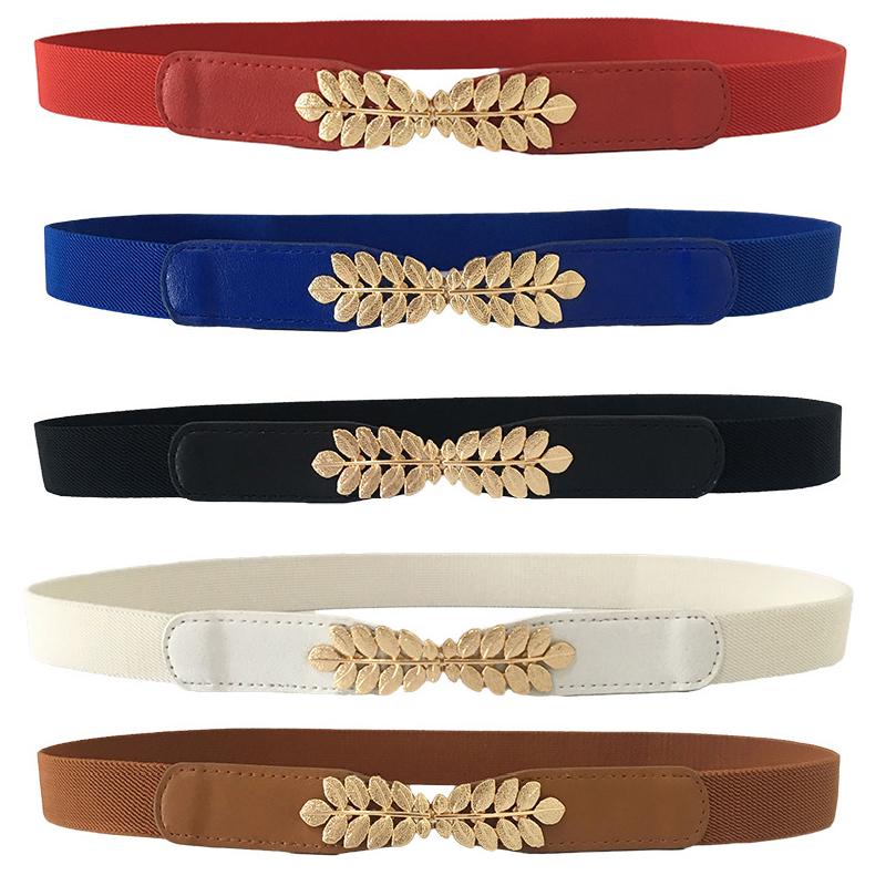 Women belt Elastic Waistband Thin Stretch Wrap Buckle Waist Belt Elegant Cummerbunds Fashion Leaf Belt for Dress Accessories