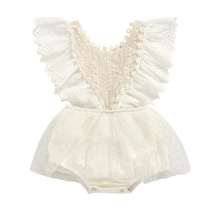 Girls Cute European and American Sleeveless Lace Baby Romper White Newborn One-piece Children's Clothing(China)