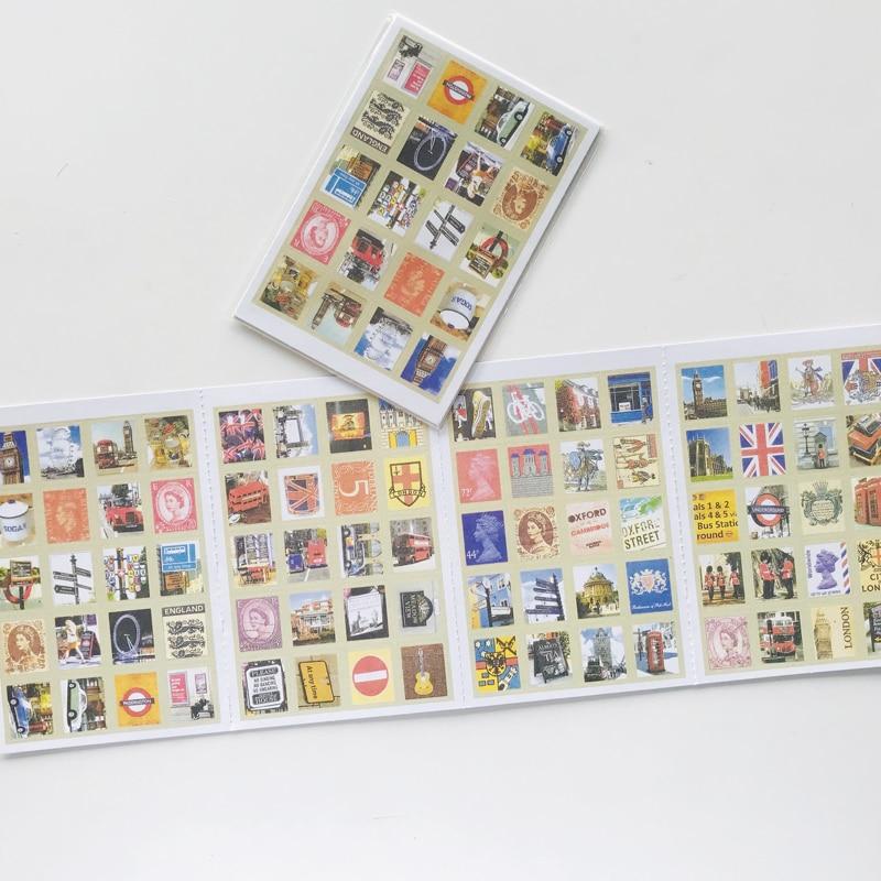 4pcs /Pack Beautiful London Folding Stamp Decorative Stickers Scrapbooking DIY Diary Album Stick Label Decor Kids Gift