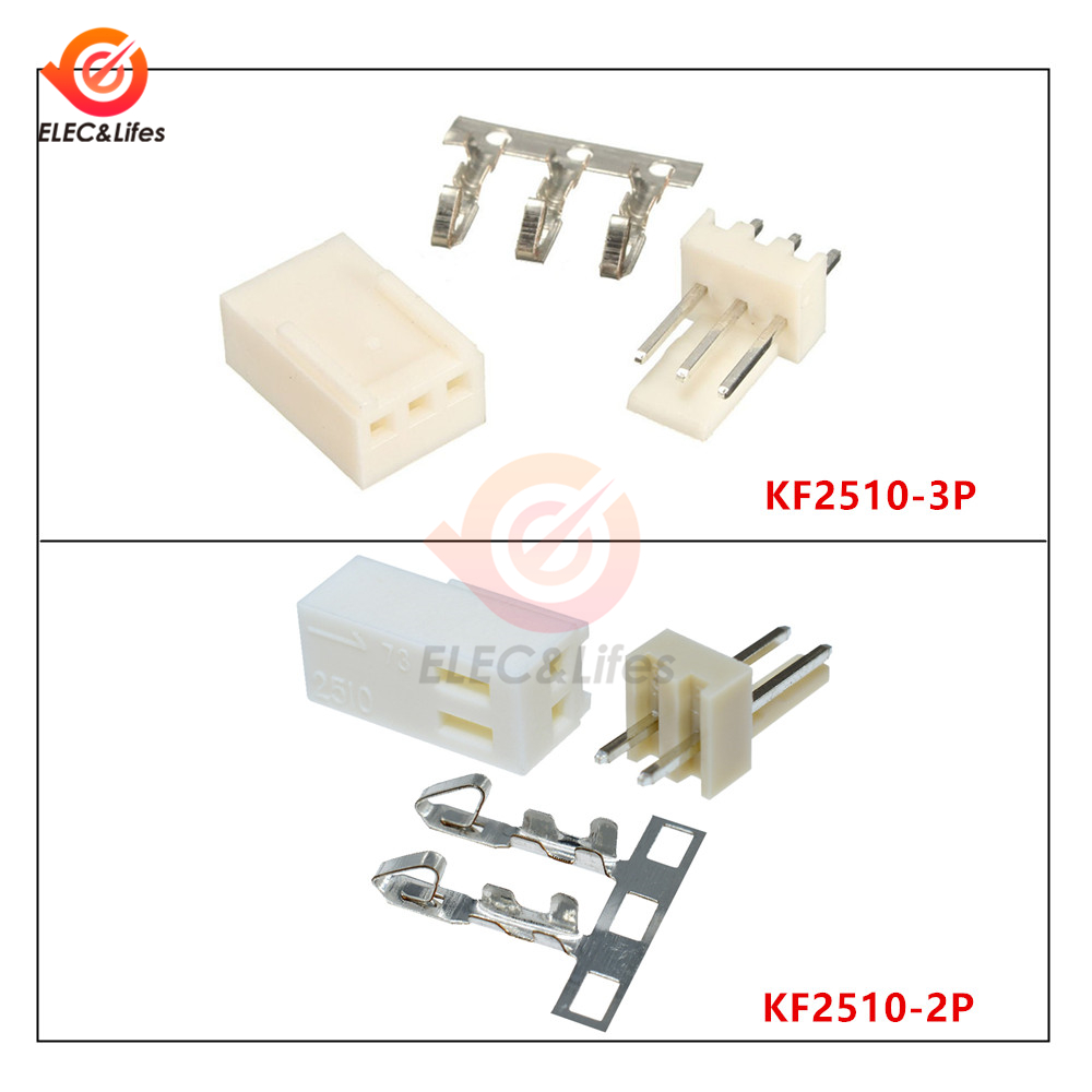 50Pcs KF2510-2P KF2510-3P 2.54mm Pin Header + Terminal + Housing Connector Kit KF2510 2Pin 3Pin Wire Connector
