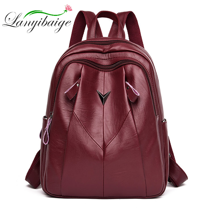 LANYIBAIGE Sac A Dos Women Leather Backpack 2019 Multifunction Bagpack School Shoulder Bags For Teenage Girls Mochila Feminina