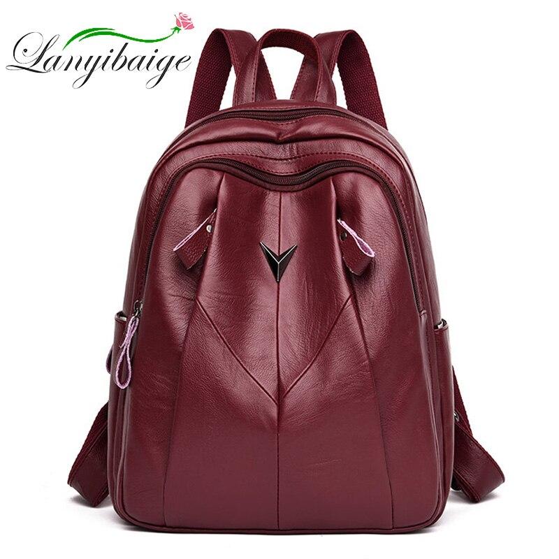 LANYIBAIGE Sac A Dos Women Leather Backpack 2019 Multifunction Bagpack School Shoulder Bags For Teenage Girls Mochila Feminina