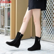 CDAXILAN new to boots women spring autumn faux seude fabric increased within wedge heel sied zipp  high-heel short ladies