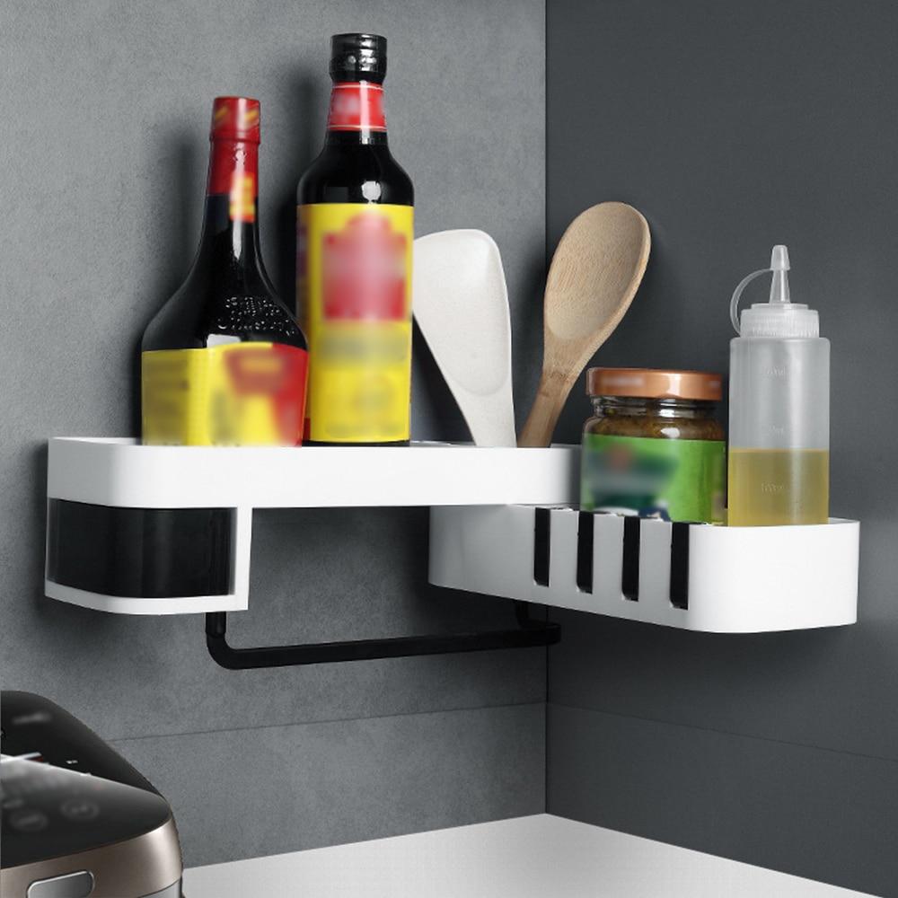 Bathroom Corner Shelf No Drilling Wall-mounted Storage Rack Holder Cabinets With Hooks 2 Tier Storage Basket Sink Storage Shelf