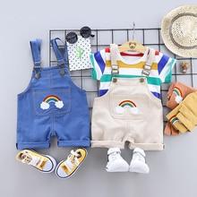 Sommer neugeborenen baby jungen kleidung für 1 jahr baby geburtstag junge geburtstag sets outfit T-shirts strap shorts anzüge babys tuch sets