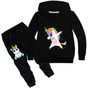 Image 5 - Kids Clothing Sets Cartoon unicorn Outffits  Clothes Suits Baby Boys Girls Hoodie full sleeve T shirt Pants Sport Clothing Sets