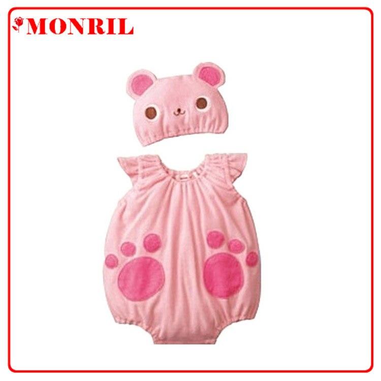 Fábrica de ropa para niños Amazon EBay algodón verano modelado mono de cuerpo completo Pelele de oso rosa