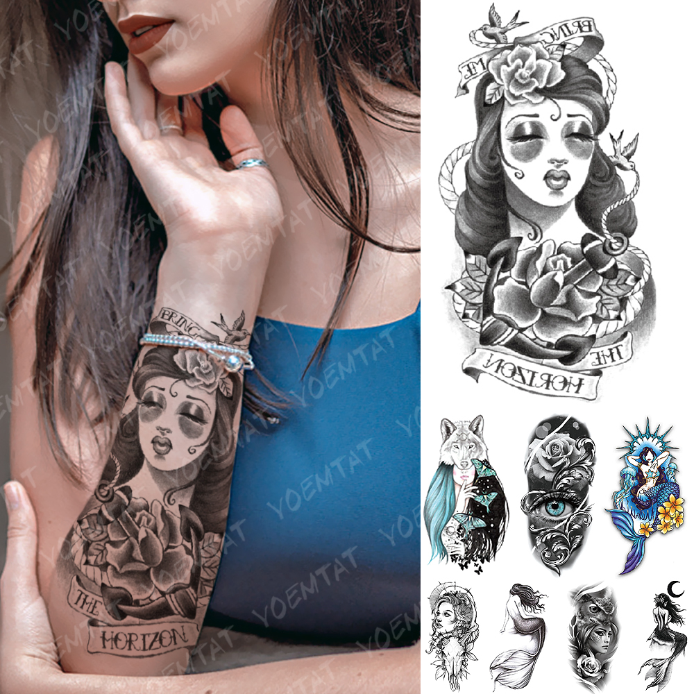 Waterproof Temporary Tattoo Sticker Old School Butterfly Wolf Flash Tattoos Anchor Mermaid Body Art Arm Fake Tatoo Women Men