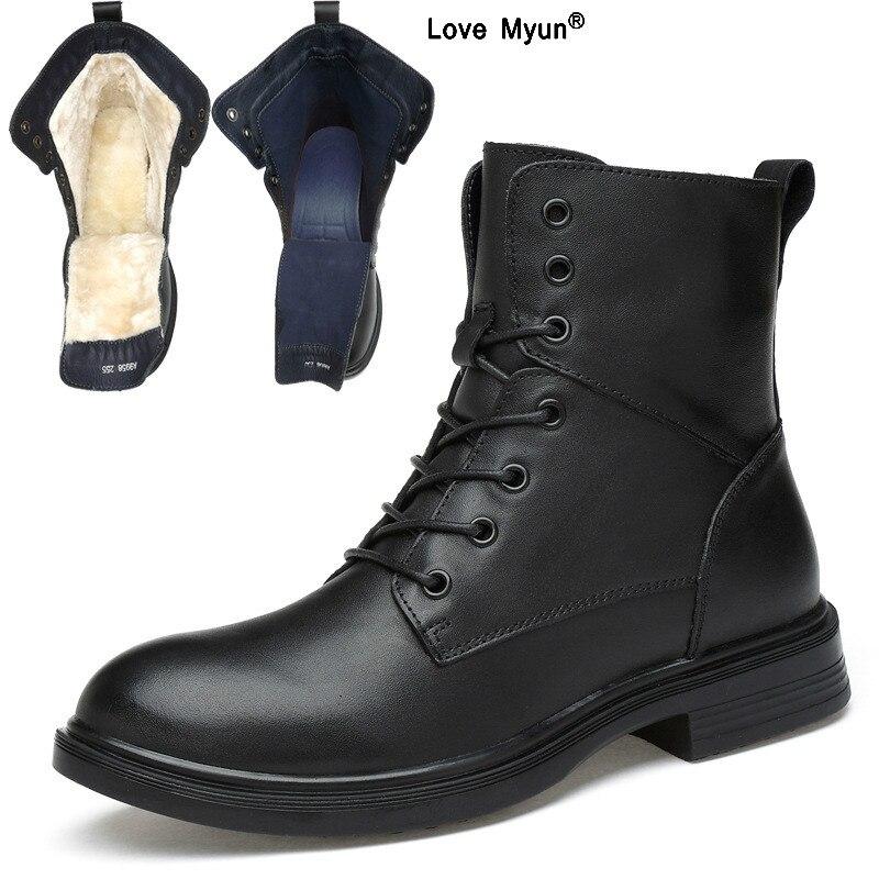 Grande taille hommes bottes chaudes haut-haut hommes bottes militaires Super qualité hiver hommes en cuir véritable bottes bois terre chaussures
