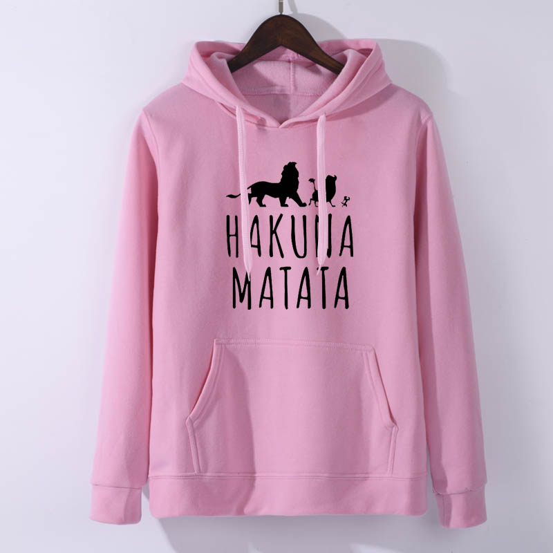 Hakuna Matata Fleece Hoodie Men Women Casual Fleece Lion King Sweatshirt Harajuku Pullover Animal Kingdom Women Hoodies