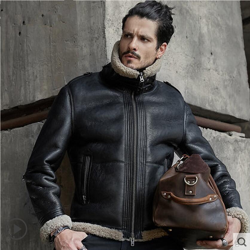 Men Sheepskin Shearling Jacket Mens Genuine Leather Jackets Thick Outerwear Motorcycle Jackets Fashion Short Winter Fur Coat