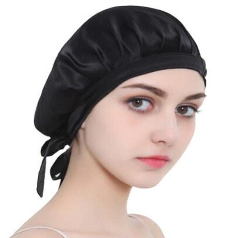 Длинный Уход за волосами, женская мода, шелковая атласная Шляпка из тутового шелка, колпак для сна, шелковая Кепка для женщин и девочек, семе...