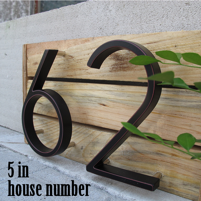 5 In Modern House Number Hotel Home Door Number Outdoor Address Plaque Zinc Alloy Number For House Address Sign #0-9