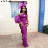 Purple One Shoulder Long African Bridesmaid Dresses Half Sleeve Sheath Plus Size Black Girls Wedding Party Prom Gowns Wholesale