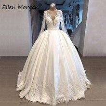 שנהב סאטן ארוך שרוולי כדור שמלות חתונה שמלות כלה Vestidos דה Novia 2020 תמונות אמיתיות V צוואר תחרה שמח נסיכה