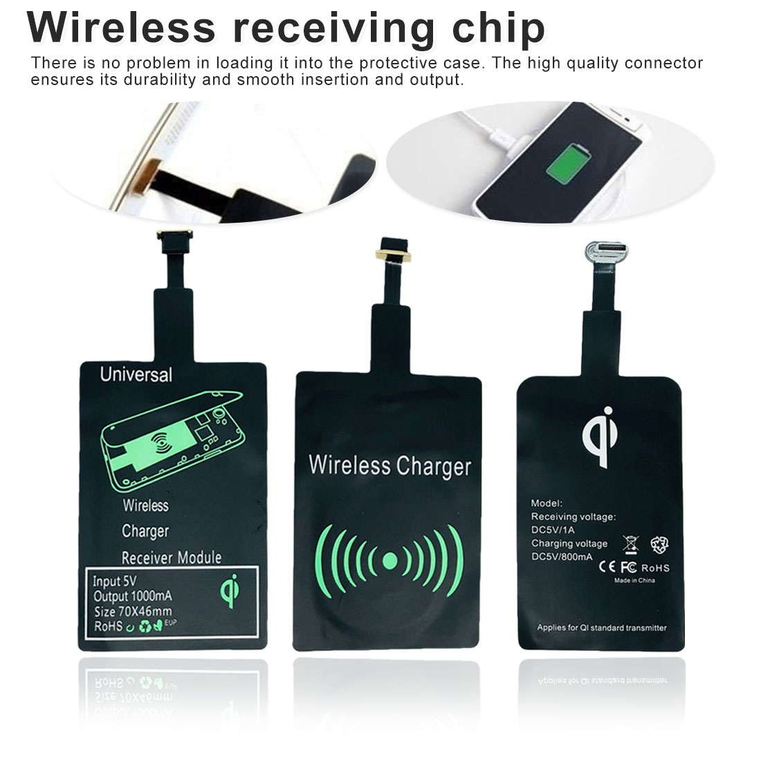 Charging-Receiver Phone-Charger Micro-Usb Wireless Universal Black Android Type-C Fashion