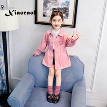 Baby jacket girls spring autumn outwear clothes toddler girl jackets kids sweet pink khaki children's jacket for 4~13Year girls hot sale 2017 baby girls leather jacket autumn child toddler girl heart shape back pu jackets coat fashion designer outwear