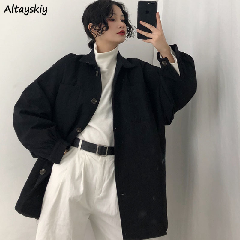 Coats and Jackets Women Jacket Solid All Match Long Black Coat Womens Oversized Clothes Korean Streetwear High Quality Stylish
