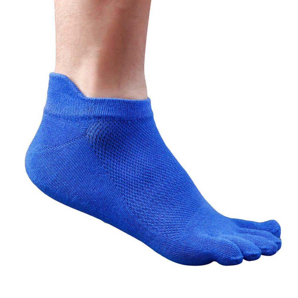 1 Pair Breathable Men's Sports Five Finger Toe Socks Solid Color Mesh Socks