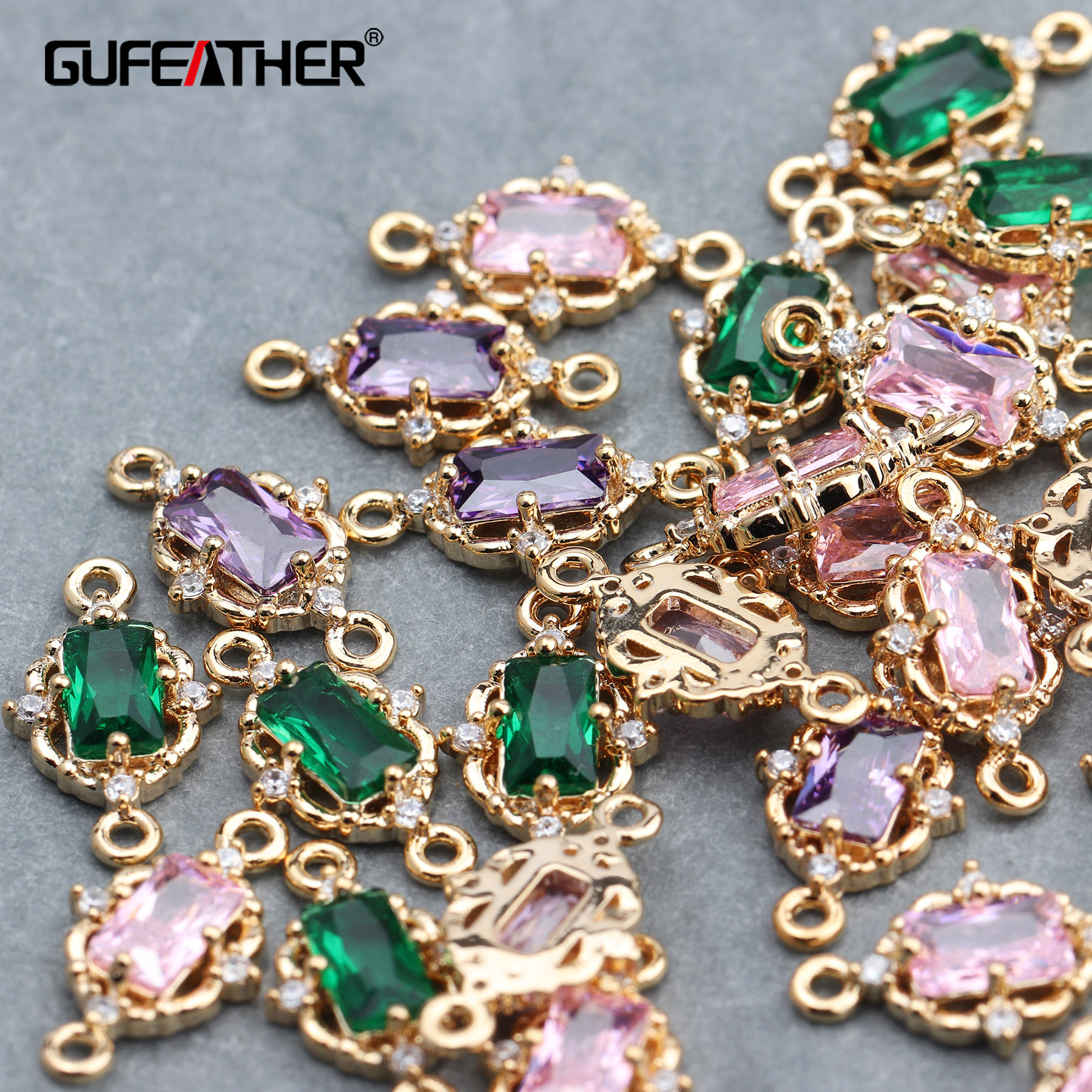 GUFEATHER M617,jewelry Accessories,diy Earring,18k Gold Plated,diy Zircon Pendant,jump Ring,hand Made,jewelry Making,10pcs/lot