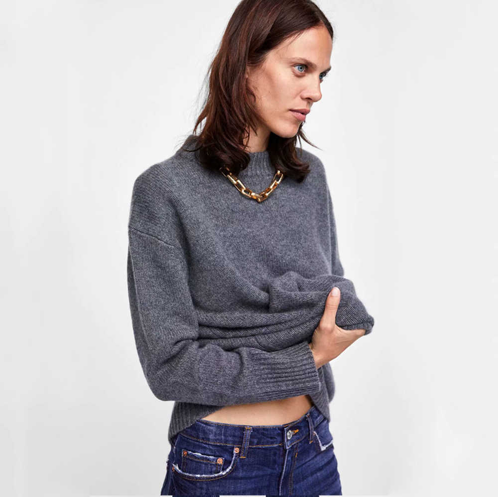 2019 ZA Sweater Women Casual Solid Sweater Pullovers Long Sleeve Turtleneck Knitwear Pullover Casual Elegant Autumn Winter Tops