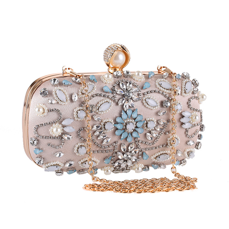 Women's Diamond Clutch,Crystal Embellished With Top Clasp Evening Handbag For Wedding Bridal Prom Gift