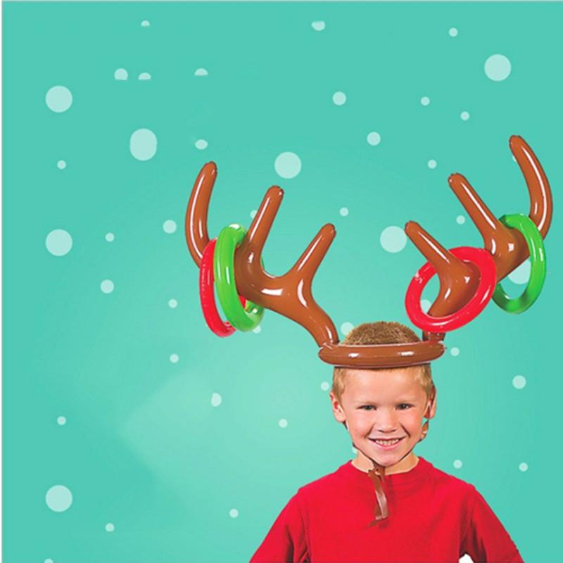 Christmas Holiday Party.Us 2 92 31 Off Inflatable Santa Funny Reindeer Antler Hat Ring Toss Christmas Holiday Party Game Supplies Toys Christmas New Year Party Decor On