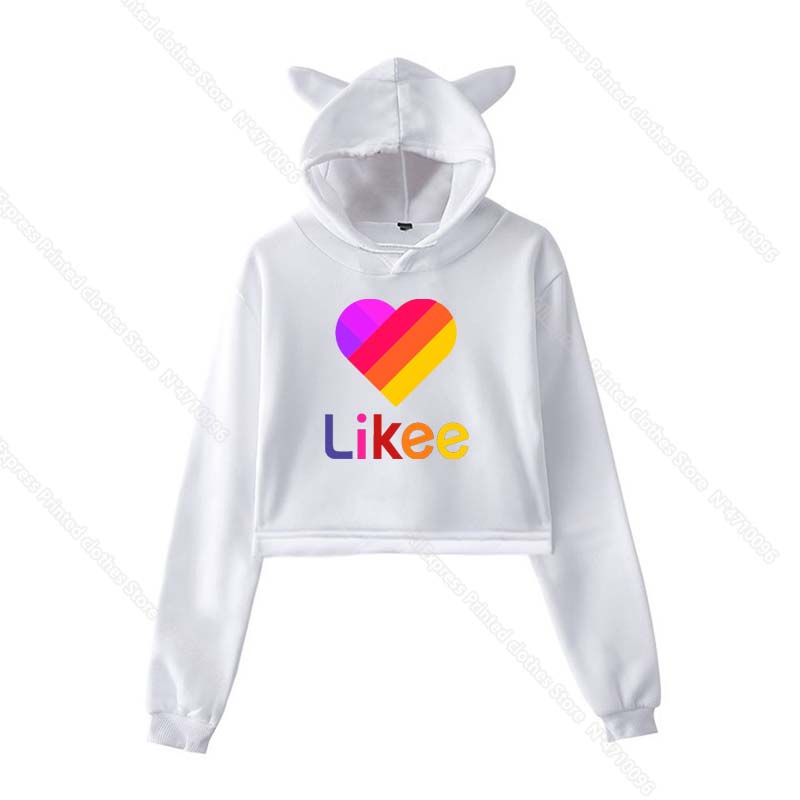 Girls Pink Cat Ear LIKEE Hoodies Cat Crop Top Likee App Hoodie Women Cartoon Unicorn Fox Sweatshirt Female Harajuku Streetwear 31